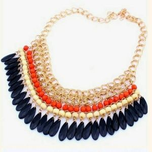 Jewelry - New! Multicolored Beaded Tassel Statement Necklace